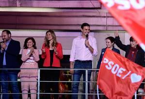 Pedro Sánchez discursa em festa de vitória do Partido Socialista Operário Espanhol Foto: JAVIER SORIANO 28-04-2019 / AFP