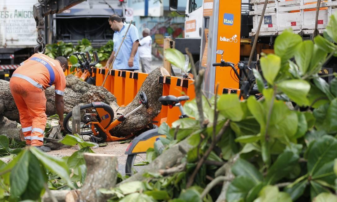 Funcionários da Comlurb cortam árvore que caiu sobre bicicletário no Leme Foto: Pablo Jacob / Agência O Globo