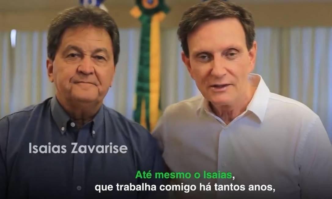Isaías Zavarise e o prefeito: união desde os tempos em que Crivella era senador Foto: Reprodução internet