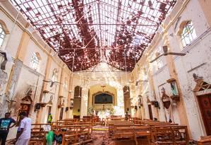 Igreja fica destruída após atentado terrorista no Sri Lanka, durante as celebrações do Domingo de Páscoa. Mais de 300 pessoas morreram Foto: Getty Images / Getty Images