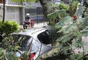 Devido aos fortes ventos, árvore caiu sobre carro na rua Araxá, no Grajaú Foto: Pedro Teixeira - Agência O Globo