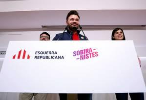 Porta-voz da ERC, Gabriel Rufián, durante conferência em Barcelona Foto: ALBERT GEA / REUTERS