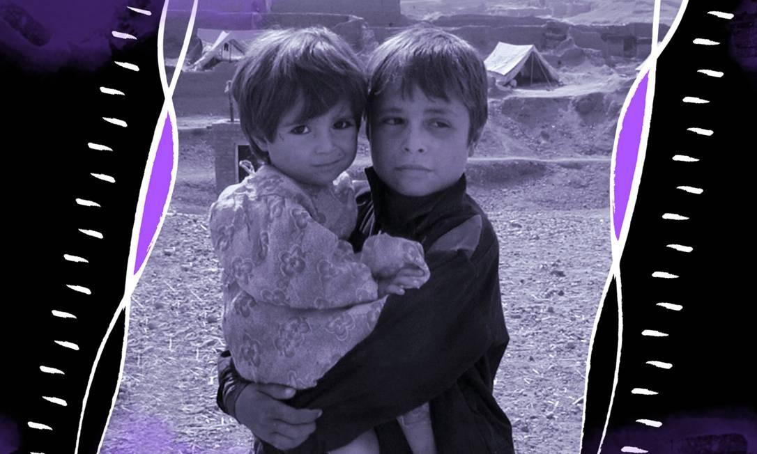 Crianças afegãs não identificadas Foto: Arte de Luiz Lopes sobre foto de Catholic Relief Services