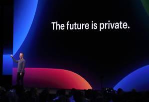 O diretor executivo do Facebook, Mark Zuckerberg, promete foco na privacidade Foto: JUSTIN SULLIVAN / AFP