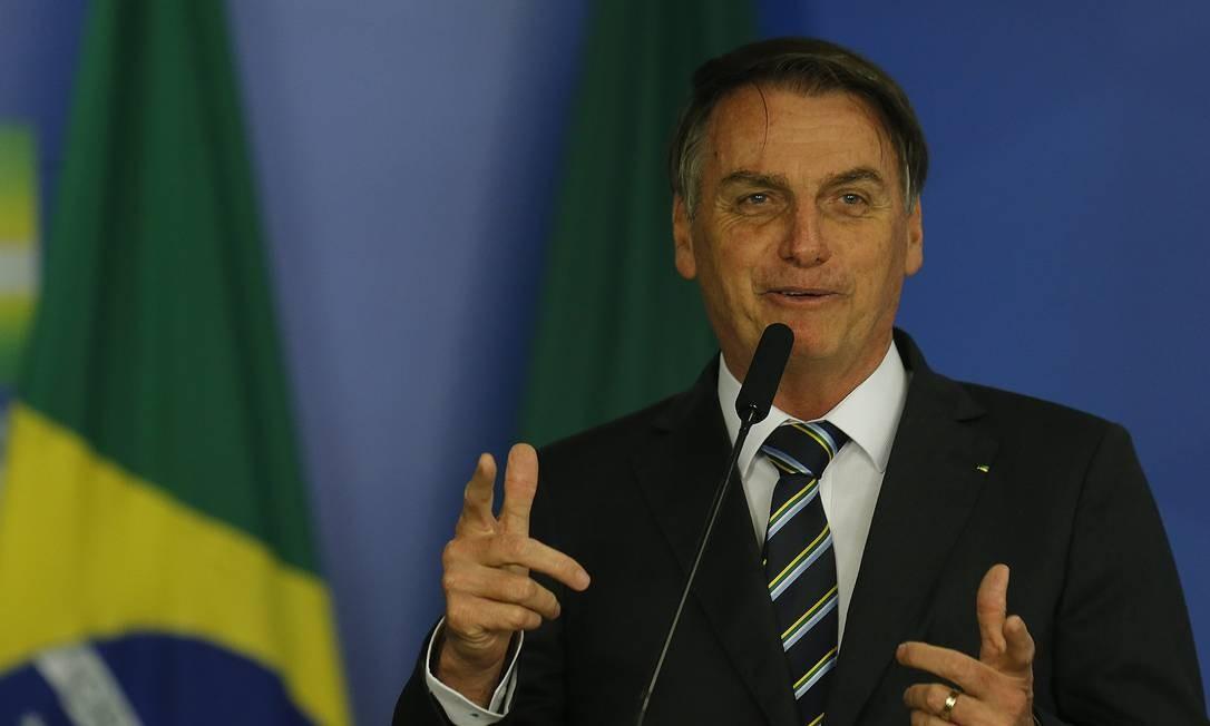 O presidente Jair Bolsonaro participa de solenidade no Palácio do Planalto Foto: Jorge William / Agência O Globo
