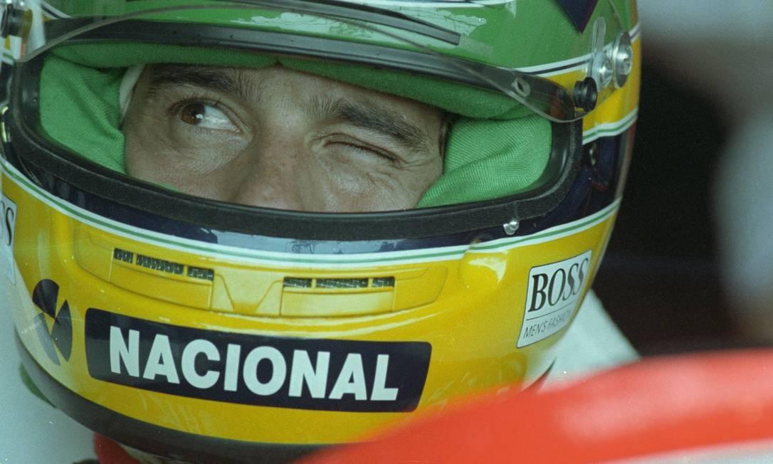Em 1991, Ayrton Senna se prepara para treino no Brasil Foto: Agência O Globo