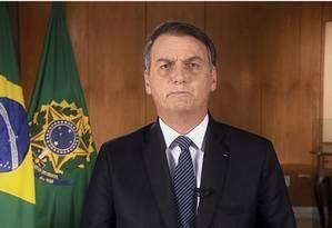 O presidente Jair Bolsonaro em pronunciamento oficial transmitido em abril Foto: Reprodução