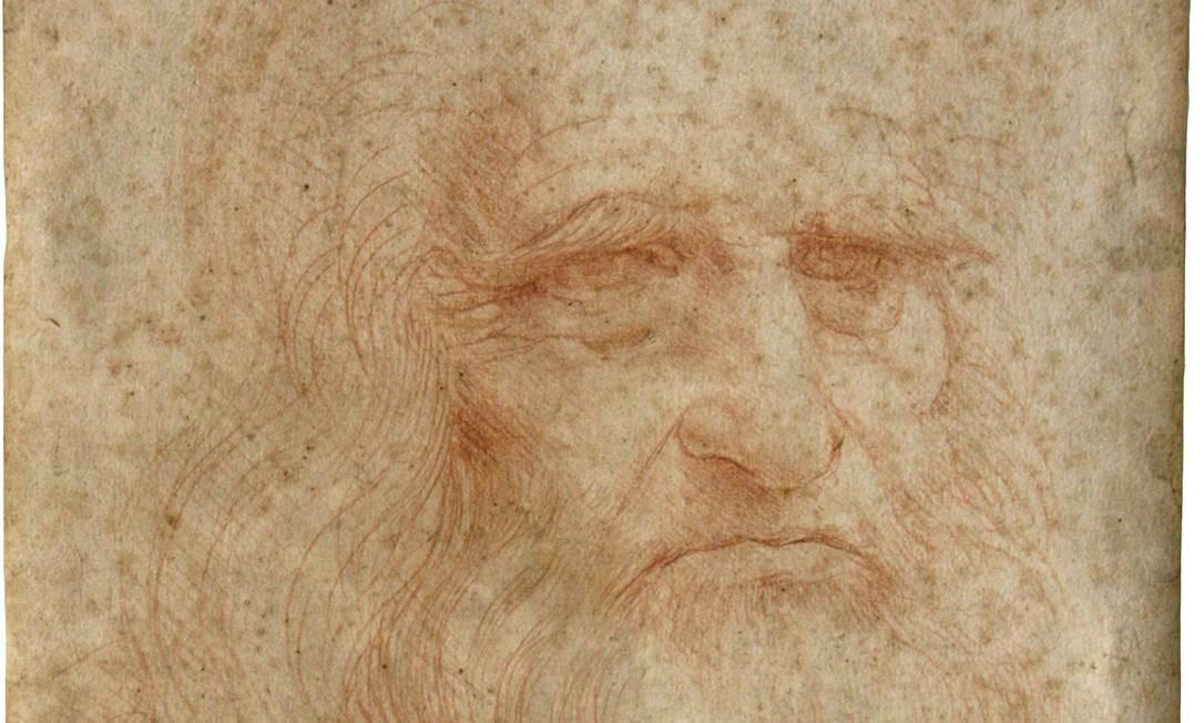 Autorretrato desenhado com giz vermelho por Leonardo Da Vinci, provavelmente em 1512 Foto: M. C. Misiti / M. C. Misiti/Central Institute for the Restoration of Archival and Library Heritage