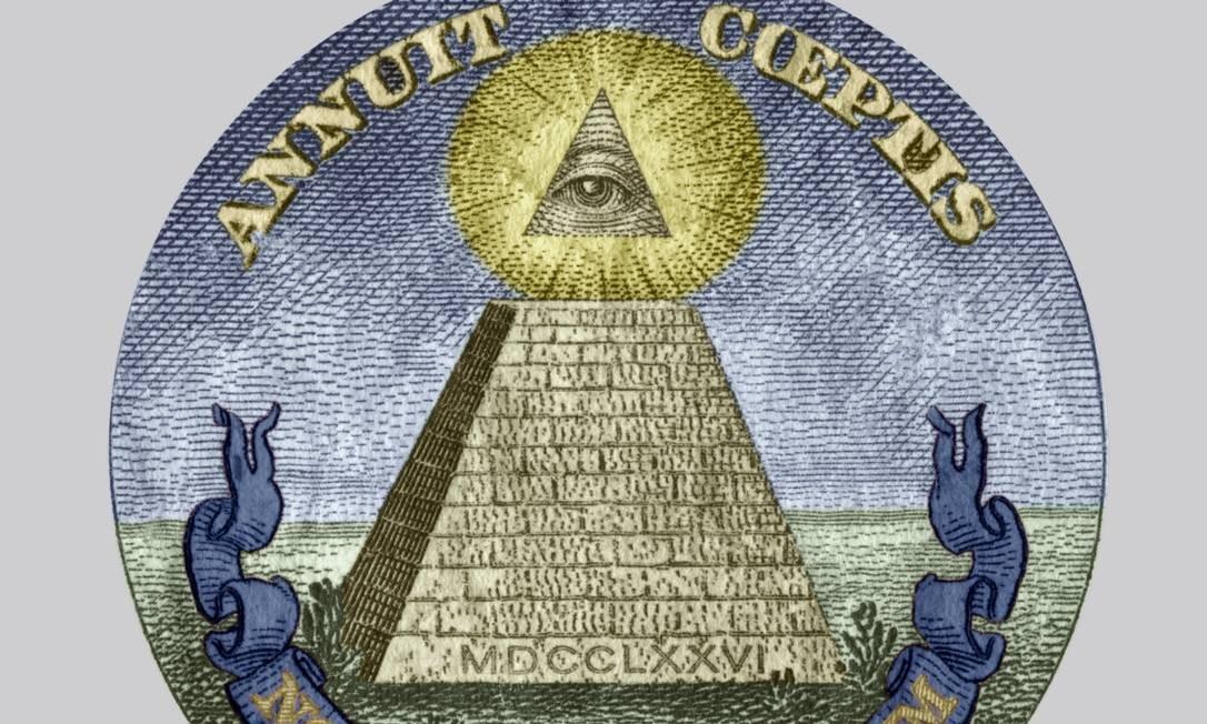 Símbolo dos Illuminati, suposta sociedade secreta que muitos crentes de teoria da conspiração creem dominar o mundo por trás dos governos Foto: Apic / Getty Images
