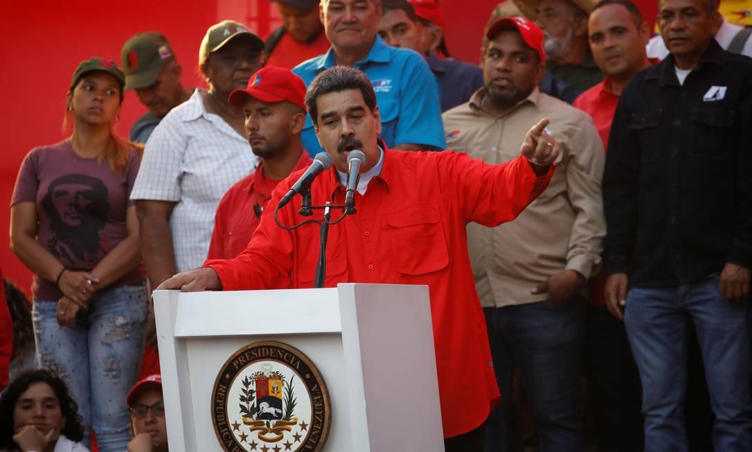 O presidente da Venezuela, Nicolás Maduro, discursa durante evento de comemoração do Dia do Trabalhador em Caracas: convocação e diálogo e críticas a opositores e aos EUA Foto: / Fausto Torrealba/REUTERS