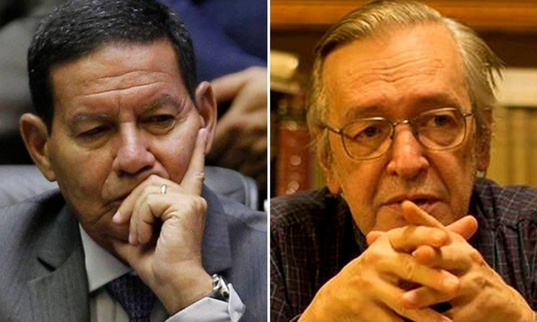 Unidos pela Ordem de Rio Branco: Mourão e Olavo de Carvalho recebem a mesma condecoração Foto: Montagem / Arte O Globo