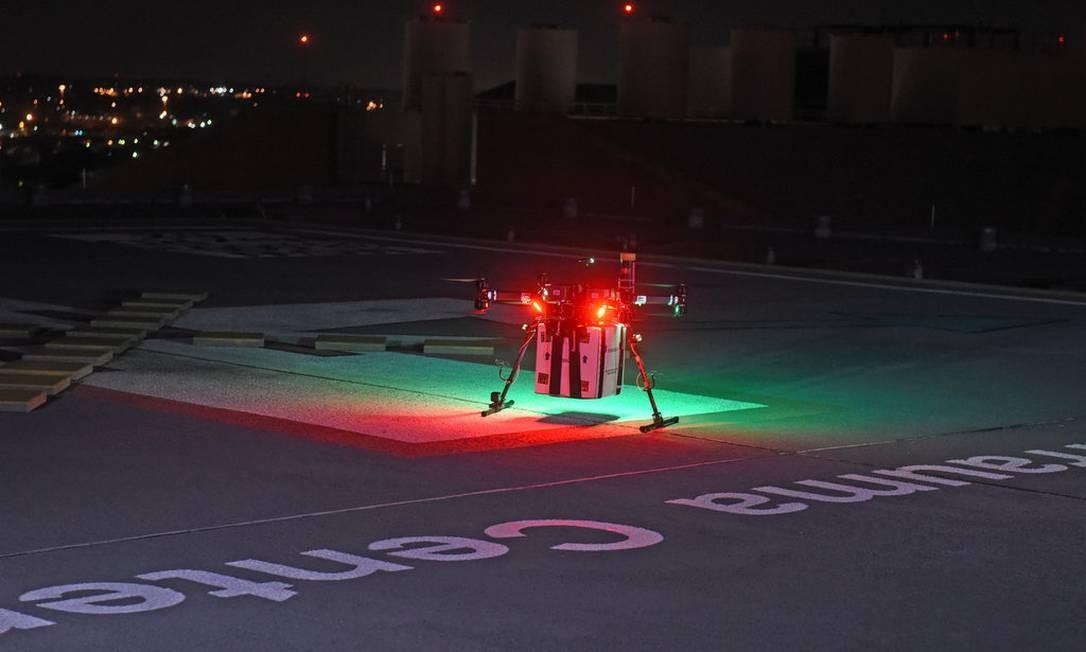 O drone foi modificado para atender normas de segurança de voo e de transporte de órgãos Foto: Mark Teske/Escola de Medicina da Universidade de Maryland