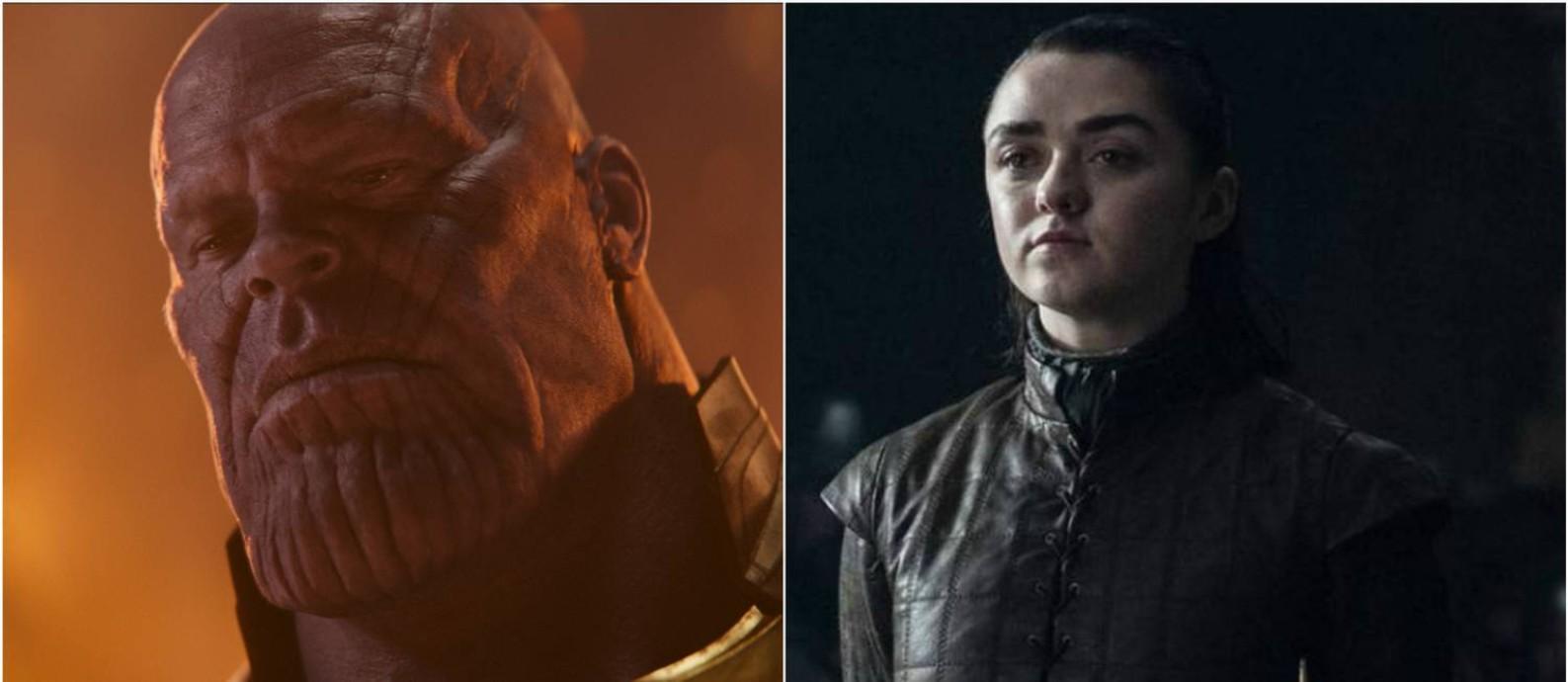 Thanos perdeu a batalha da popularidade no Twitter para Arya Stark Foto: Thanos (AP) Arya (HBO)