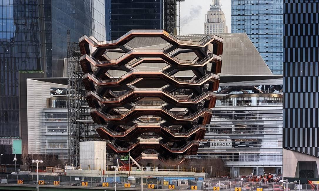 A estrutura The Vessel, marco da nova área comercial e residencial de Nova York, o Hudson Yards Foto: Michael Moran / Divulgação