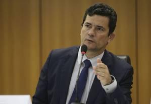 O ministro da Justiça, Sergio Moro, durante entrevista Foto: José Cruz/Agência Brasil