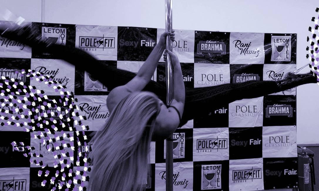 Dançarina de pole dance na Sexy Fair Foto: Hugo Araújo