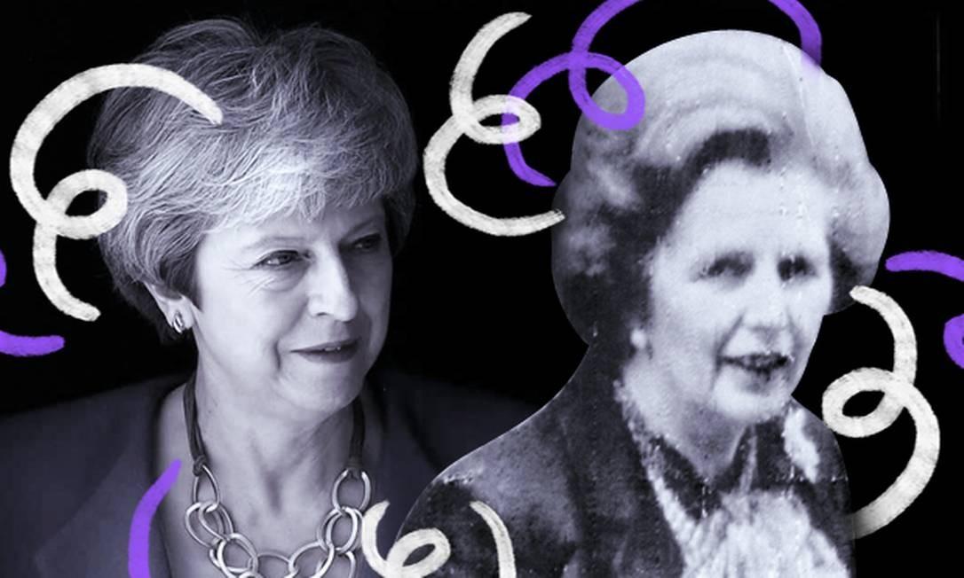 Quarenta anos separam os mandatos de Margaret Thatcher e Theresa May, as únicas mulheres a exercerem o cargo de primeiro-ministro do Reino Unido Foto: Arte de Chrtistiano Benício
