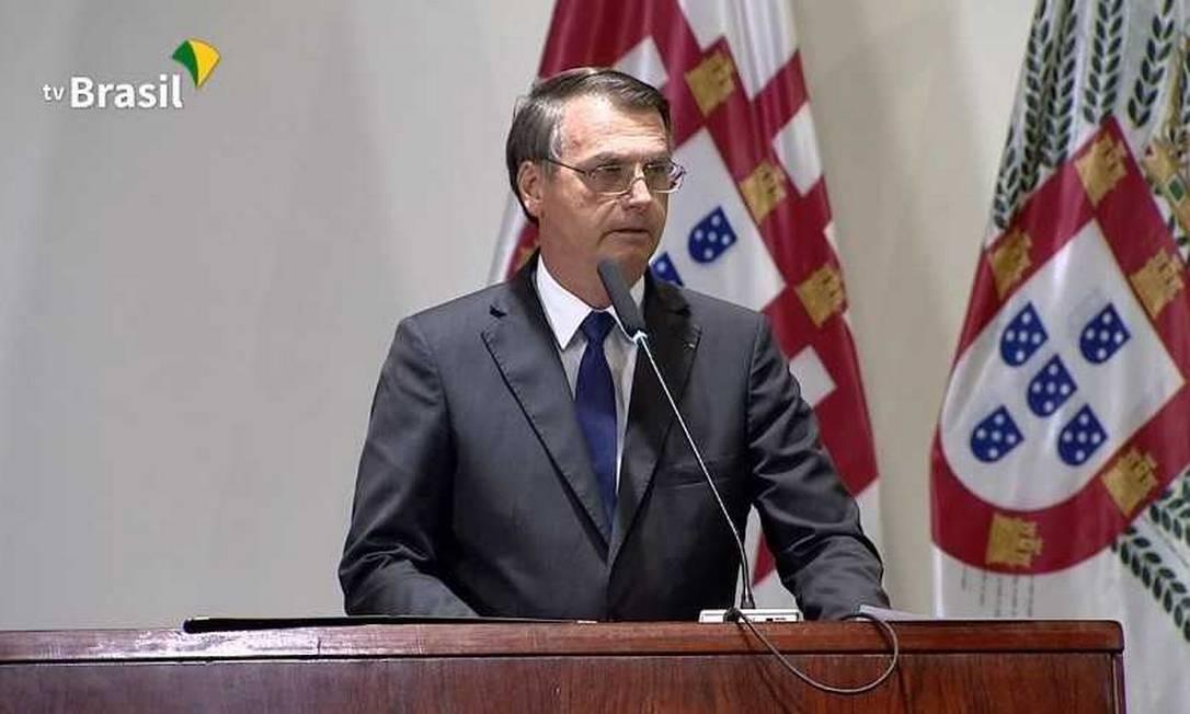 O presidente Jair Bolsonaro discursa na cerimônia de formatura de novos diplomatas Foto: Reprodução/ TV