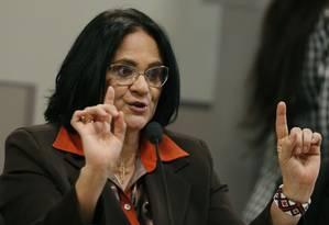 A ministra da Mulher, da Família e dos Direitos Humanos, Damares Alves Foto: Jorge William / Agência O Globo