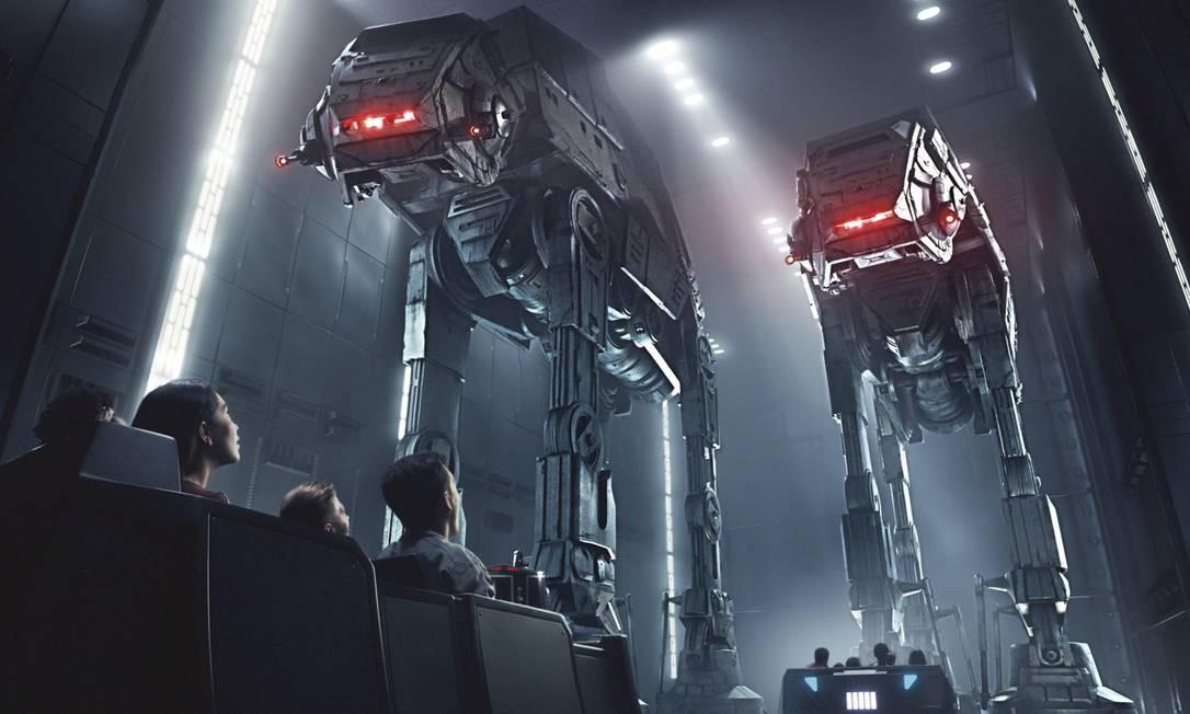 Arte conceitual mostra um trecho da aventura simulada na atração Star Wars: Rise of the Resistance Foto: Disney Parks / Divulgação