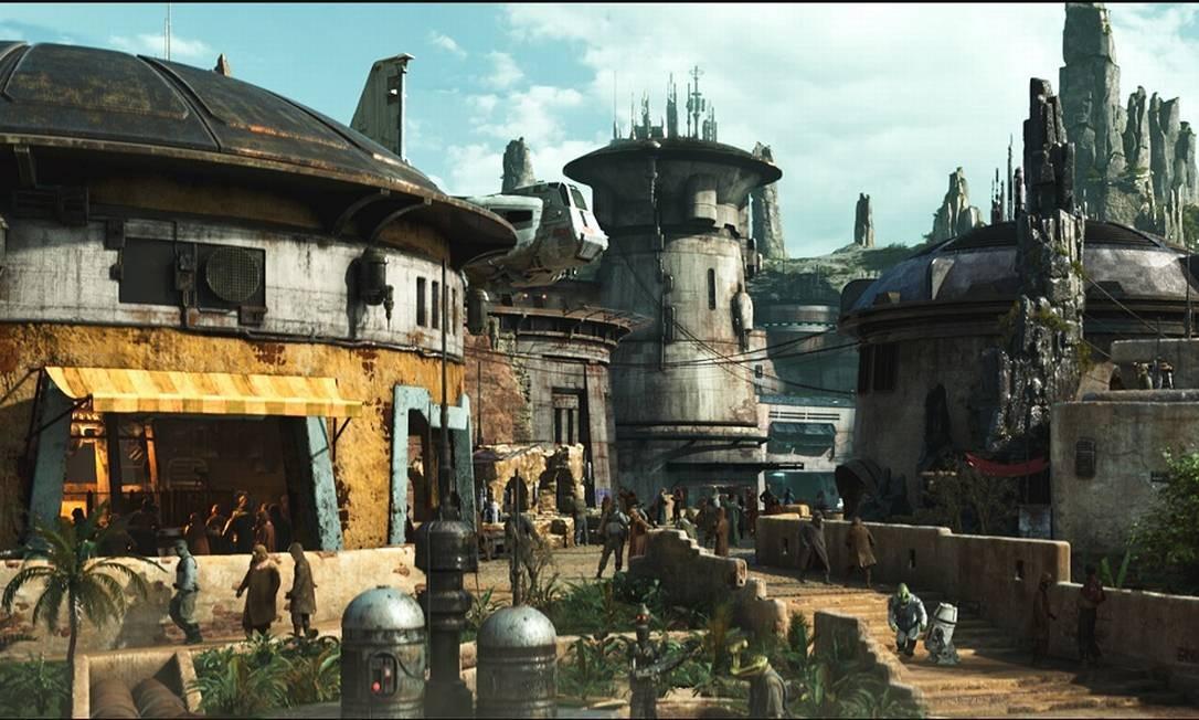 Desenho mostra como será o vilarejo Black Spire Outpost, no planeta Batuu, cenário da nova área temática Star Wars: Galaxy's Edge, nos parques da Disney Foto: Disney Parks / Divulgação