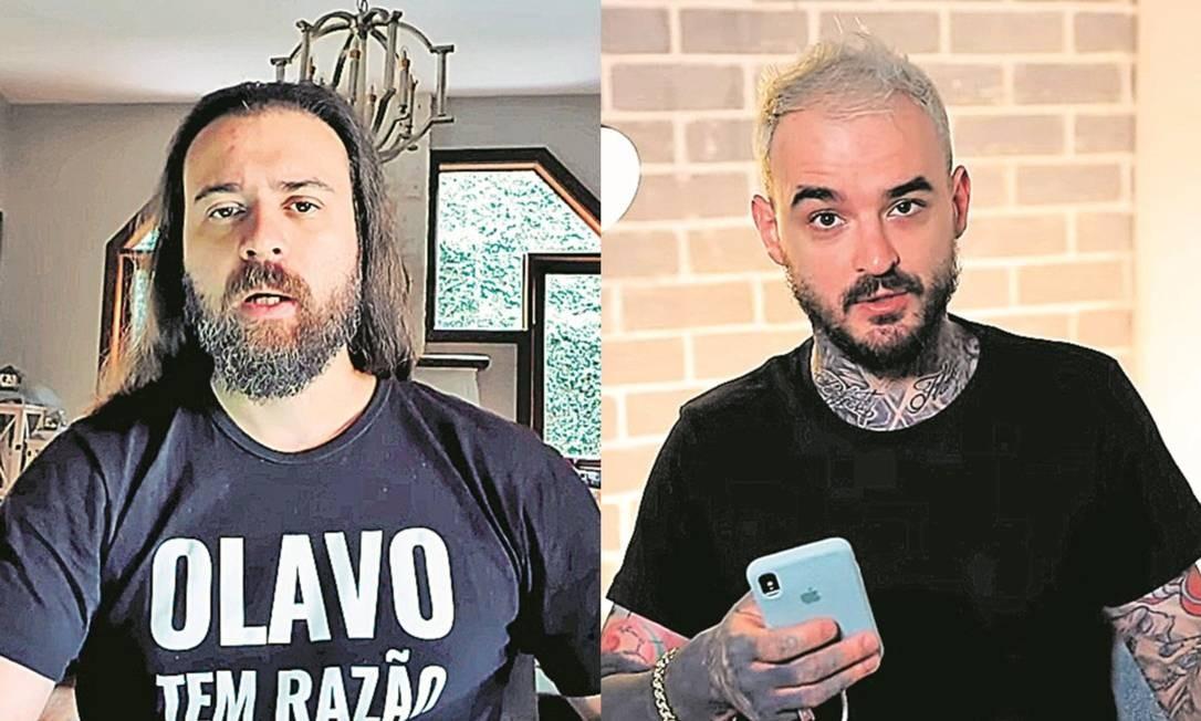 Nando Moura e PC Siqueira: youtubers são dois dos principais personagens envolvidos em embates políticos na plataforma de vídeo Foto: Reprodução / Youtube
