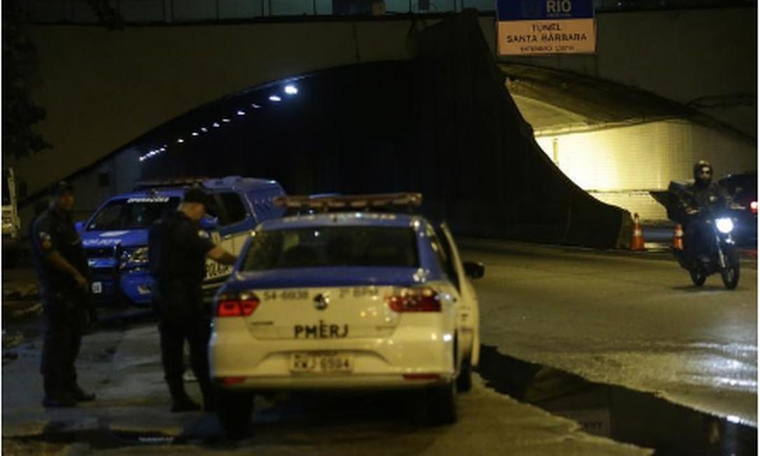 O Túnel Santa Bárbara, onde houve arrastão no sábado Foto: Roberto Moreyra / Agência O Globo