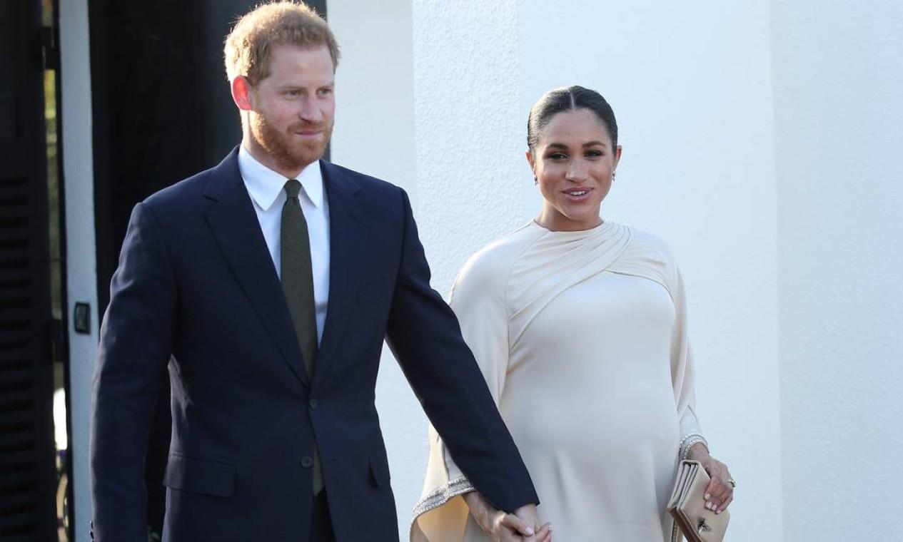Princípe Harry e Meghan Markle durante recepção organizada por embaixador britânico no Marrocos Foto: POOL New / REUTERS