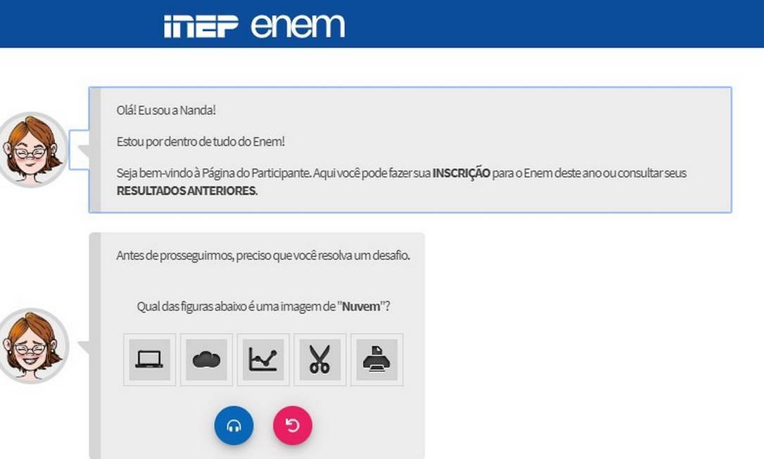 Tela de inscrição interativa do Enem. Foto: Reprodução