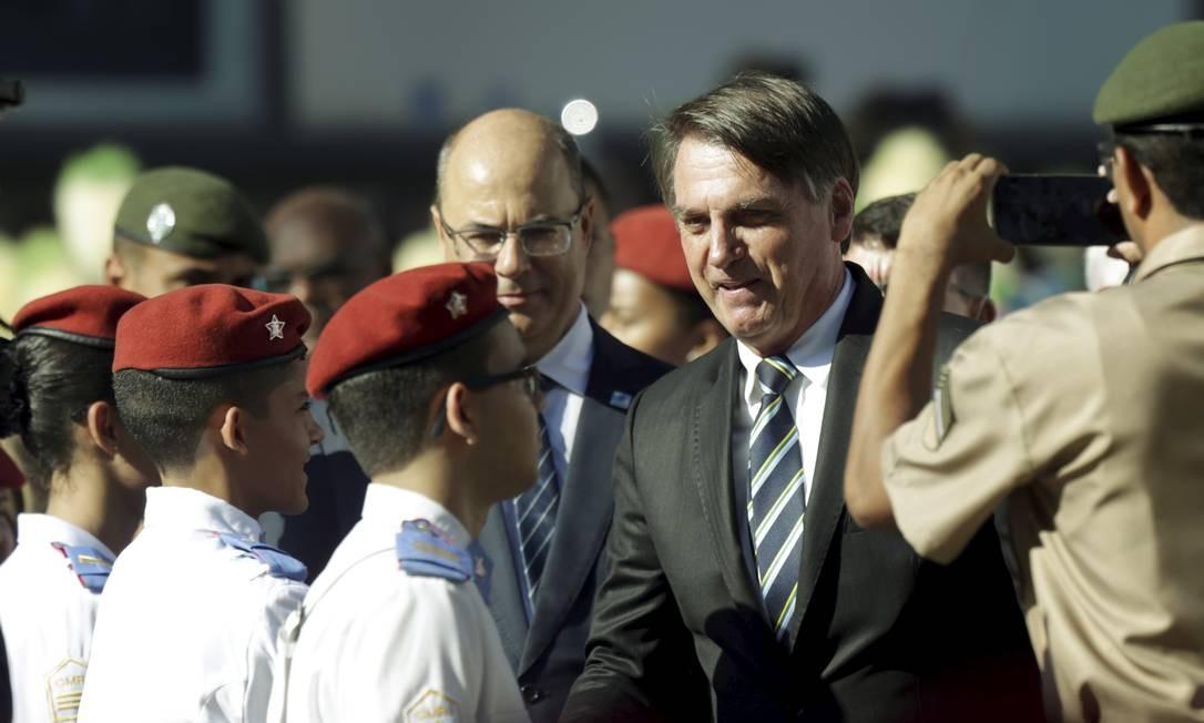 O presidente Jair Bolsonaro participou da comemoração dos 130 anos do Colégio Militar do Rio de Janeiro Foto: Gabriel de Paiva / Agência O Globo