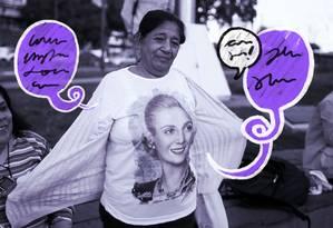 Mulher exibe camiseta com imagem de Eva Perón durante ato que marcou centenário da ex-primeira-dama no obelisco de Buenos Aires Foto: Agustin Marcarian 06-05-2019 / Reuters
