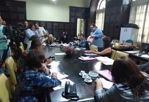 Reunião da CPI que investiga suposto favorecimento no leilão de camarotes da prefeitura do Rio e da Riotur na Marquês de Sapucaí Foto: Renan Rodrigues / Agência O Globo