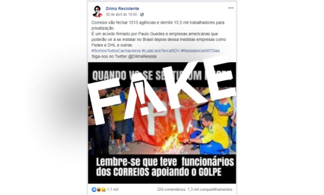 É #FAKE texto que anuncia 15,3 mil demissões e fechamento de 1.513 agências nos Correios Foto: Reprodução