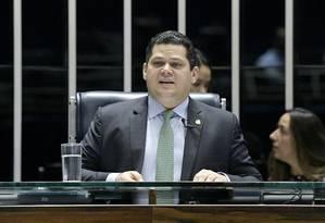 O presidente do Senado, Davi Alcolumbre, durante sessão plenária Foto: Pedro França/Agência Senado/26-04-2019
