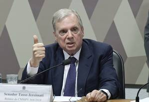 O senador Tasso Jereissati (PSDB-CE), durante a comissão que analisou MP do Saneamento Foto: Waldemir Barreto/Agência Senado