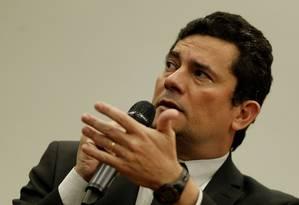 O ministro da Justiça Sergio Moro em sessão na Câmara dos Deputados Foto: Jorge William / Agência O Globo