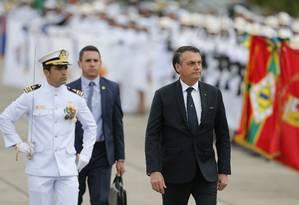 O presidente Jair Bolsonaro na Cerimônia em Comemoração ao Dia da Vitória e Imposição da Medalha da Vitória no Monumentos dos Pracinhas, no Aterro do Flamengo Foto: Pablo Jacob / Agência O Globo