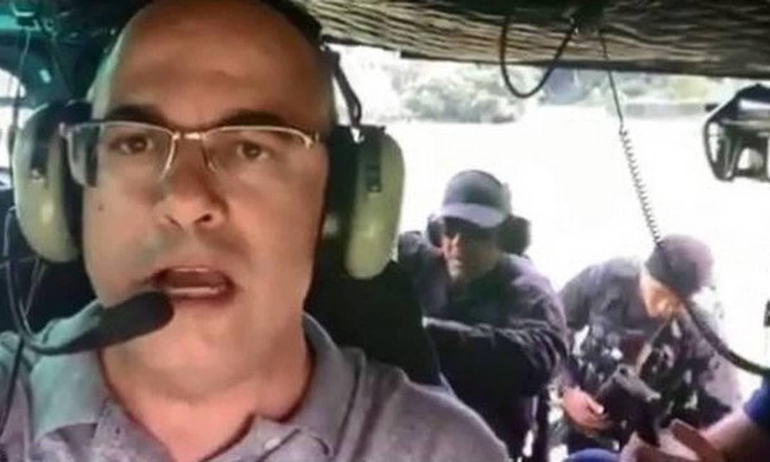 Em helicóptero, Witzel acompanha operação da Core em Angra dos Reis Foto: Reprodução