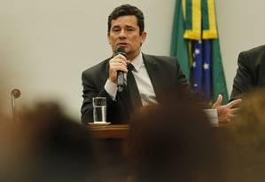 O ministro da Justiça, Sergio Moro, na comissão de segurança pública da Câmara Foto: Jorge William / Agência O Globo