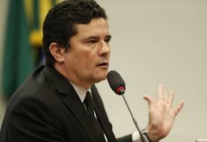 BSB - Brasília - Brasil - 08/05/2019 - Ministro da Justiça, Sérgio Moro na Comissão de Segurança Pública e Combate ao Crime Organizado. Foto: Jorge William / Agência O Globo Foto: Jorge William / Agência O Globo