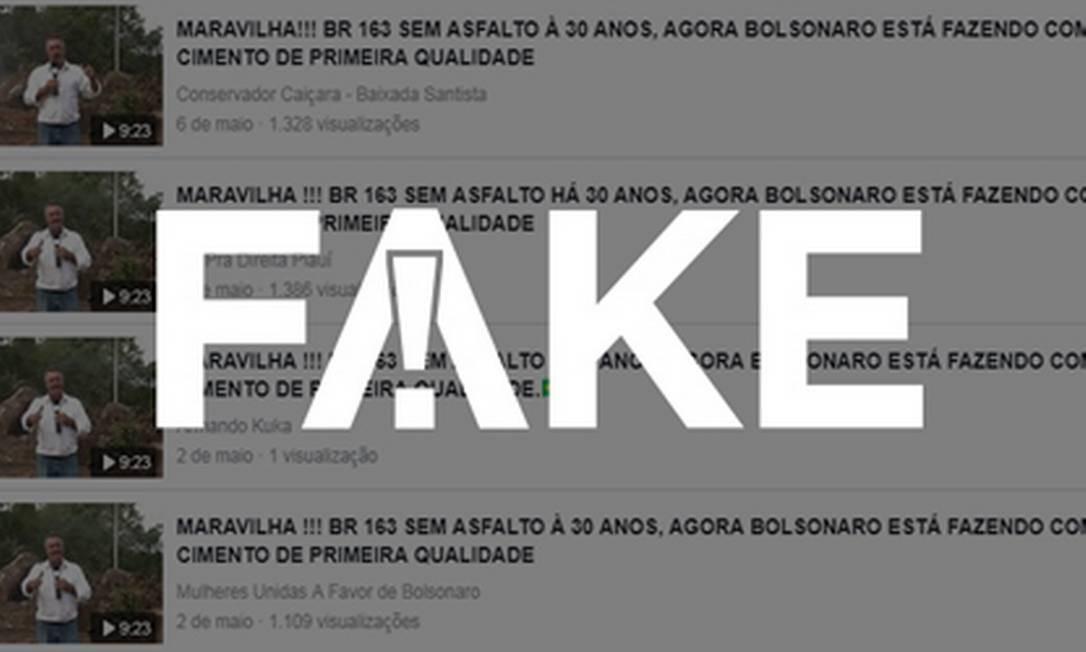 É #FAKE que obra em trecho da BR-163 mostrada em vídeo foi iniciada no governo Bolsonaro Foto: Reprodução