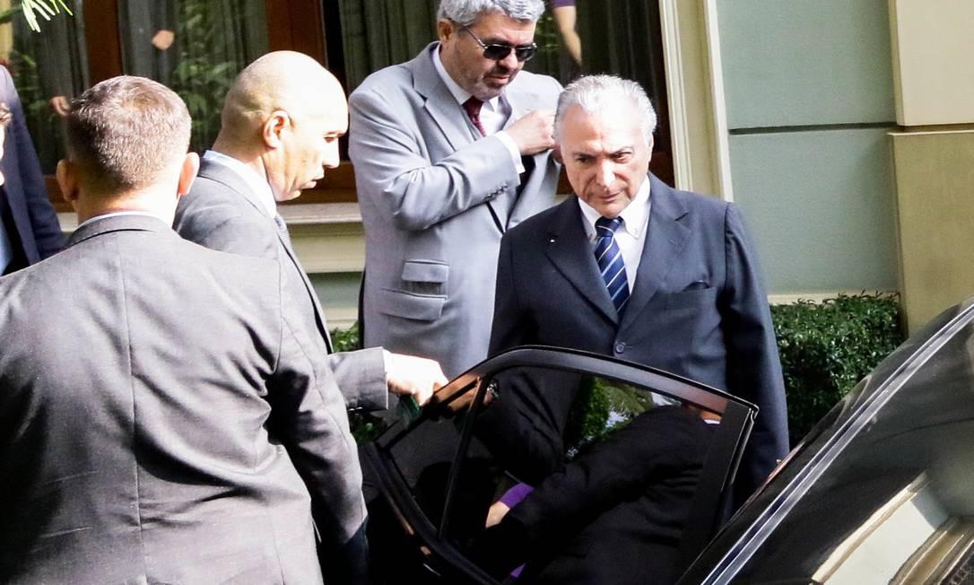 O ex-presidente Michel Temer chega à sede da Polícia Federal em SP para se entregar após novo mandado de prisão Foto: Fotoarena / Agência O Globo