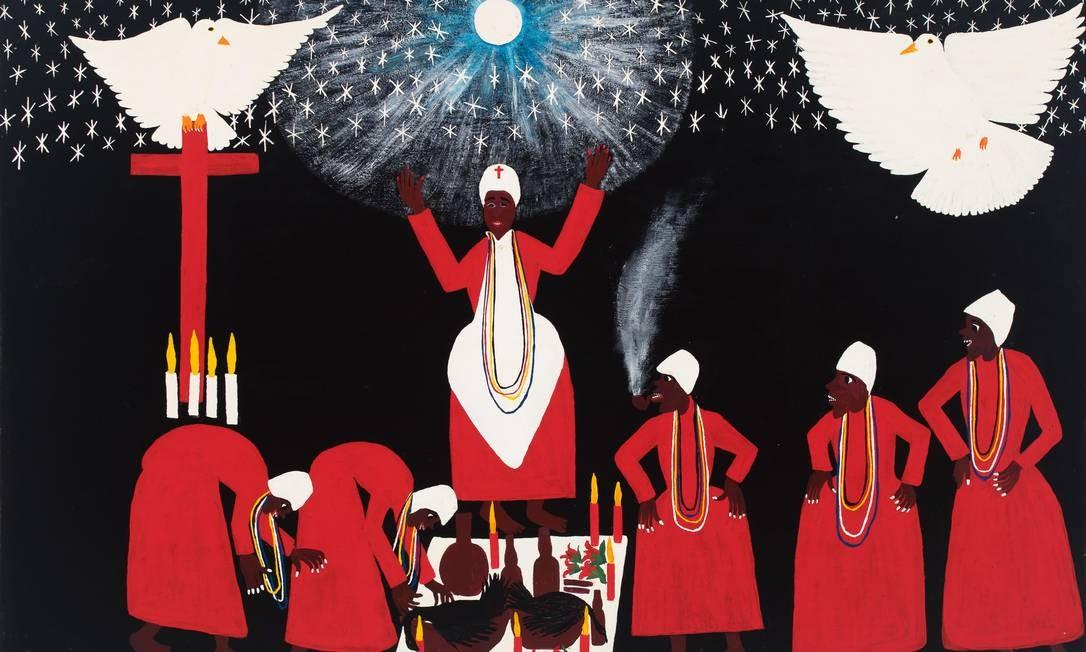 """A mostra exibe mais de 300 trabalhos do acervo do Museu Internacional de Arte Naïf, fechado desde de 2016, no Cosme Velho. Na foto, """"A pomba gira"""", de Ricardo Ozias. Foto: Divulgação"""