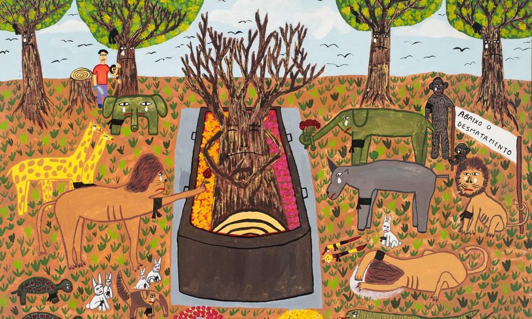 """Além das obras de arte naïf, como """"Não enterrem a natureza - o protesto"""", de Dalvan da Silva FIlho (foto), e exposição vai apresentar trabalhos de 38 artistas contemporâneos, entre eles Marcos Chaves, Efraim Almeida e Erika Verzutti. Foto: Divulgação"""