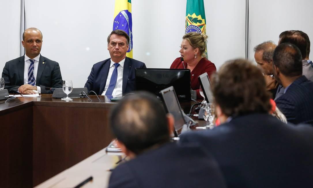 O presidente Jair Bolsonaro, durante reuniãp com a bancada do PSL Foto: Carolina Antunes/Presidência