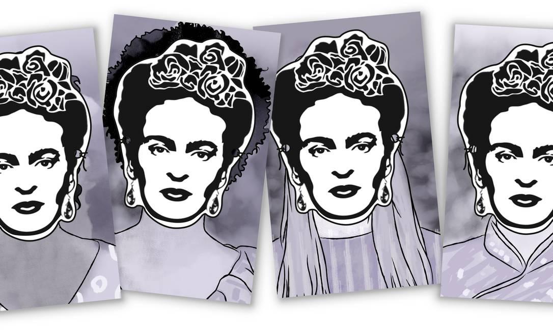Morta há 65 anos, Frida Kahlo se tornou símbolo da quarta onda feminista Foto: Arte de Alvim