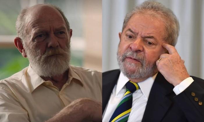 O personagem João Higino (Arthur Kohl) e o ex-presidente Lula Foto: Arte O Globo