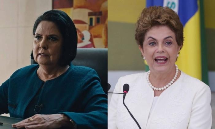 Janete Ruscov (Sura Berditchevsky) e a ex-presidente Dilma Rousseff Foto: Arte O Globo