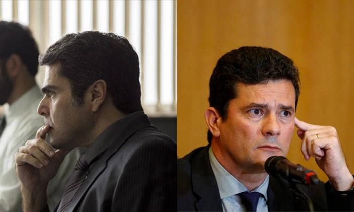 O juiz Paulo Rigo (Otto Jr.) e o ministro da Justiça e e Segurança Pública, Sérgio Moro Foto: Arte O Globo
