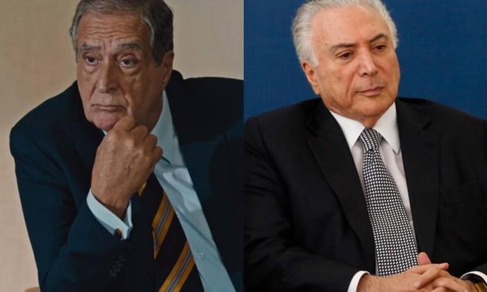 Samuel Thames (Phil Miler) e o ex-presidente Michel Temer Foto: Arte O Globo